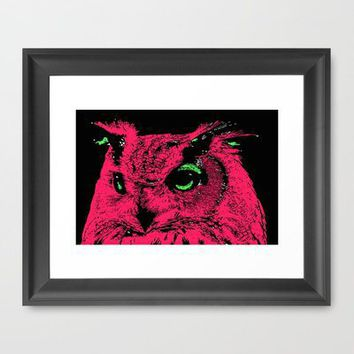 Neon Owl Framed Art Print by Romi Vega | Society6