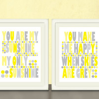 You are my Sunshine & You Make Me Happy art by pitterpatterpress