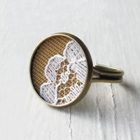 Lace Ring Mustard Yellow Fabric Jewelry White by TheWhirlwind