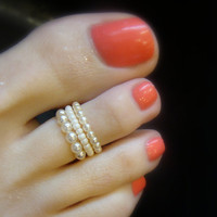 Toe Ring, Cream, Ivory, Pearls, Wedding, Bead Toe Ring