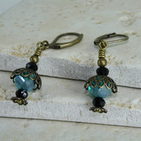 Vintage Style Antique Brass and Teal Color Crystal Earrings