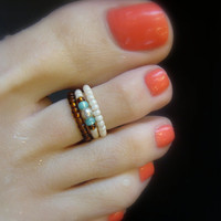 Toe Ring, Topaz, Milky Peridot, Cream, Ivory, Bead Toe Ring