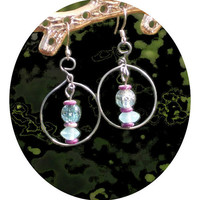 Dangle Wire Hoop Blue Earrings, With Purple Accent
