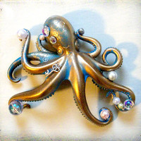 Stolen Pearls patina blue and gold octopus by SteampunkCouture