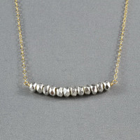 Beautiful Silver Beads Necklace, Wired Beads, 14K Gold Filled Chain,  also in Sterling Silver