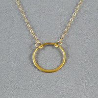 Gold Vermeil Circle Link Necklace, 14K Gold Filled Chain, Pretty, Simple, Everyday Wear Necklace