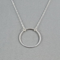 Sterling Silver Circle Link Necklace, 925 Sterling Silver Chain, Pretty, Simple, Everyday Wear Necklace