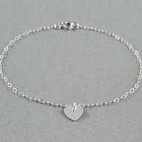 Tiny Heart Disc Bracelet, 925 Sterling Silver, Fashion, Simple, Pretty, Everyday Wear Bracelet
