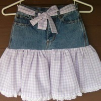 Upcycled Jean Skirt in Childs Size 7 with Cotton Lilac Checks