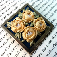 Cluster of Embroidered Silk Ribbon Roses Broach on Upcycled Blue Silk Fabric