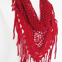 Red Knitted Fringed Scarf / Shawl, Lace Scarf, Cowl, Headband, Infinity Scarf, Triangle Scarf