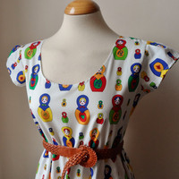 Tea Dress With Cute Colourful Russian Dolls / Handmade / Choose Your Size