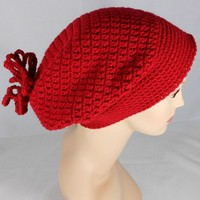 Crocheted Claret Slouchy Hat