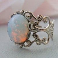 Adjustable White Silver Opal Ring