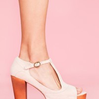 Foxy Platform - Nude Suede in  Shoes at Nasty Gal
