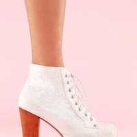 Lita Platform Boot - White Glitter in  Shoes at Nasty Gal