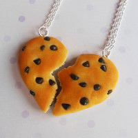 valentines day chocolate chip cookie best friend necklaces half broken heart friendship necklace polymer clay