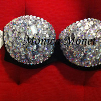 Gorgeous White Lady GaGa Inspired Sexy Rave Bra Costume Burlesque Sequin Rhinestone Bling Bra
