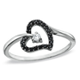 1/8 CT. T.W Enhanced Black and White Diamond Tilted Heart Promise Ring in 10K White Gold - View All Rings - Zales