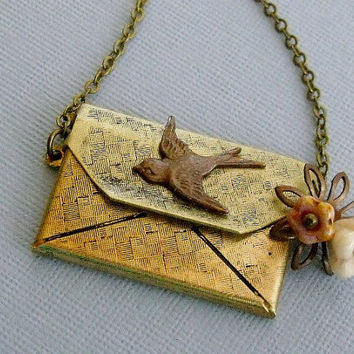 Envelope Locket Necklace With Messenger Sparrow Bird