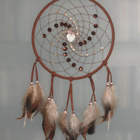 9&quot; Brown and pink dream catcher with a pearl heart by CatchMyDreams