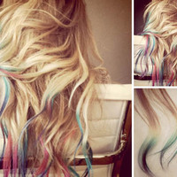 RAINBOW Tip Ombre Hair Extensions // FULL  Head // Clip-In // Human Hair // Lauren Conrad Inspired