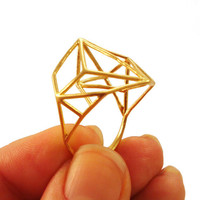 Architectural Structure Wide Geometric Gold Ring by osnatharnoy