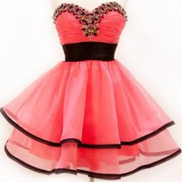 Amazon.com: Zeilei Organza Strapless Short Homecoming Party Dress: Clothing