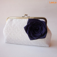 Bridal Clutch  Navy Nautical Wedding  White Lace by LeelaPurse