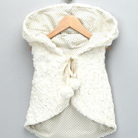 Anais & I - Ivory Faux Fur Hooded Vest - Toddler & Girls
