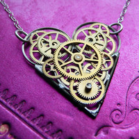 Clockwork Heart Necklace Corazon Valentine's by amechanicalmind