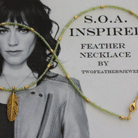 SOA Inspired Feather Necklace - Green And Gold - Sons Of Anarchy Inspired Necklace
