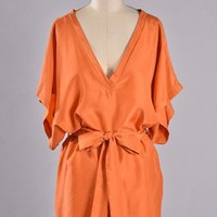 Orange Silk Short Sleeve Dress with Tie Waist & V-Neckline
