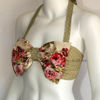 Garden and Dots Print Bow Bandeau by amourouse on Etsy