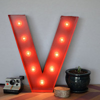 Vintage Inspired Marquee Light Letter V by SaddleShoeSigns on Etsy