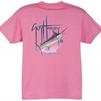 Guy Harvey GH Blue Youth Tee Shirt in Carolina Blue, Dark Pink, White or Royal Blue