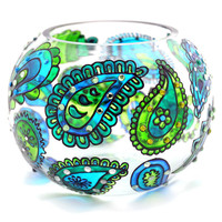 Hand Painted Glass Bowl, Blue-Green, Paisley | Luulla