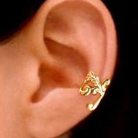 24K Gold Empire ear cuff earrings jewelry - Left earcuff for men and women 121112