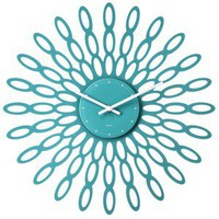 Modern Sunburst Wall Clock Teal