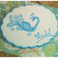 Handmade Notecards Thank You Peacock Turquoise Blue Glittery Scalloped Oval Set of 10 Handmade Storage Envelope
