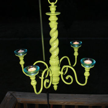 Lime Green Candelabra/ Outdoor Chandelier Decor /Shabby Chic Patio/ Romantic & Relaxing Candlelight