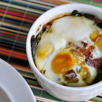 Baked Eggs with Bacon and Spinach | Heather's Dish - StumbleUpon