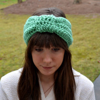 Teal Crocheted Knot Headband