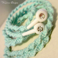 Wrapped Earbuds / Tangle Free Headphones  'Breakfast At Tiffany's' By Wrapture Designs
