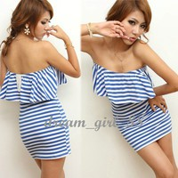 NEW Women Striped Ruffle...