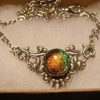 Victorian Style Dichroic Glass Necklace in Antique Silver (914)