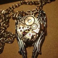 Victorian Style vintage Watch Movement on Wings Steampunk Necklace (915)