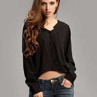 Black Irregular Bat Sleeve Hem Shirt S010021