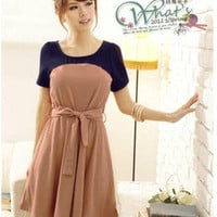 Asian Korean Japanese Round Collar Dress Pink