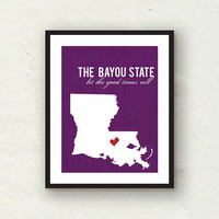 Louisiana art - Let the good times roll - State print home decor - purple decor - 8x10 graphic print